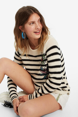 Striped jumper with floral embroidery