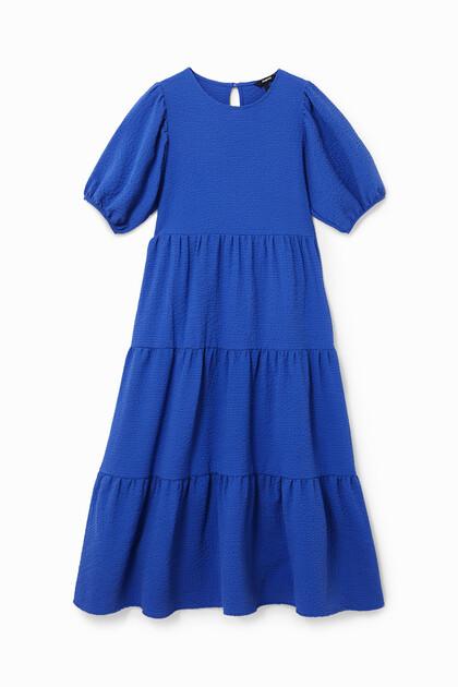 Plain texturized midi-dress