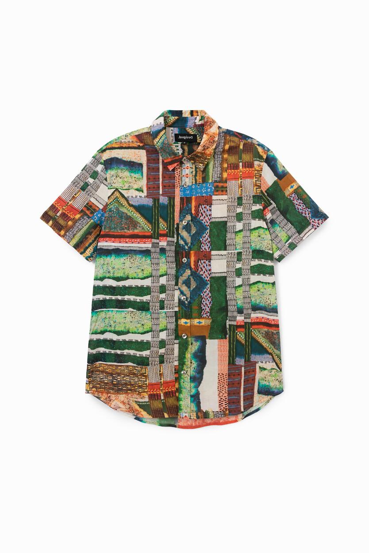 Camisa 100% algodão com faixas decorativas