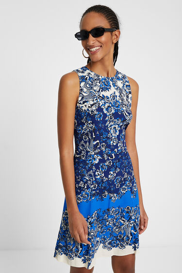 Short dress with oriental print | Desigual