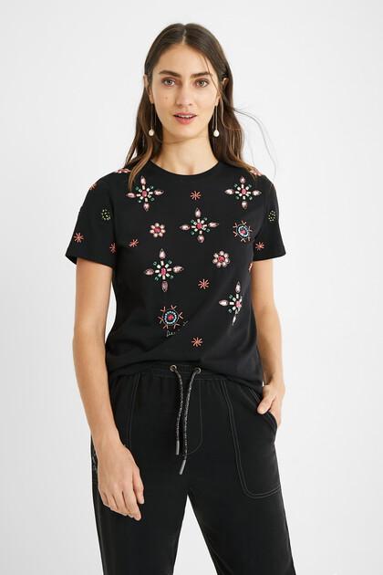Koszulka ze 100% bawełny z biżuteryjnymi zdobieniami