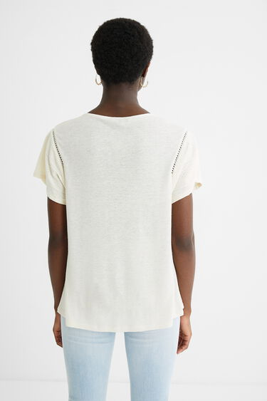 Short-sleeved linen T-shirt | Desigual