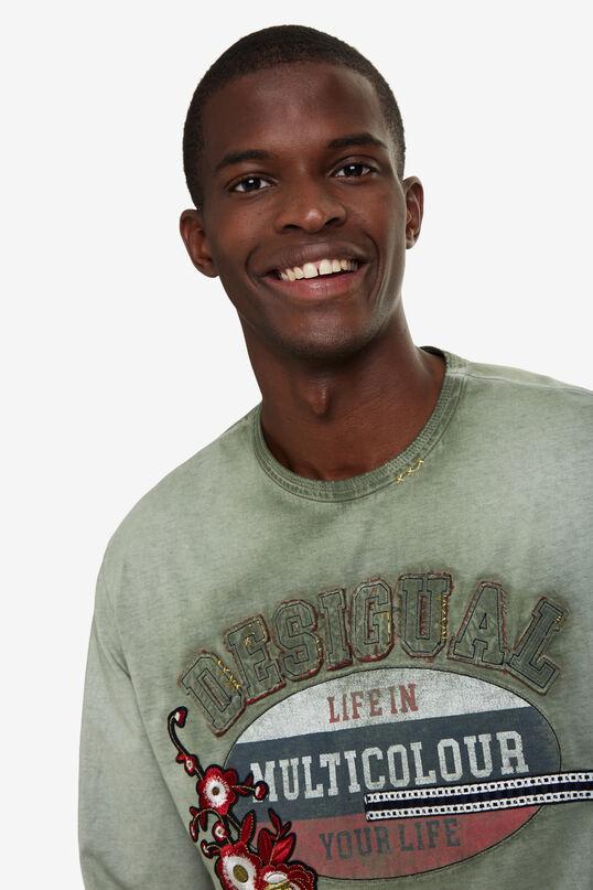 T-shirt vieilli imprimé positionnel | Desigual