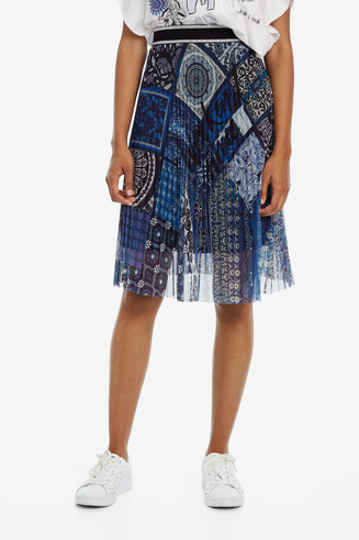 Blue Flared Patchwork Skirt Amanda