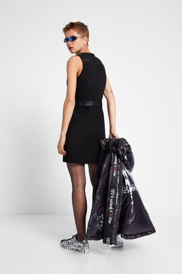 Leather effect vest dress | Desigual