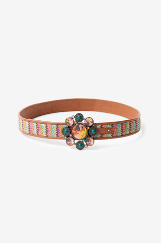 Multicolour reversible braided belt