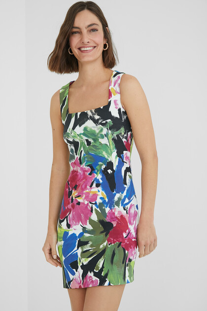Slim dress painted flowers