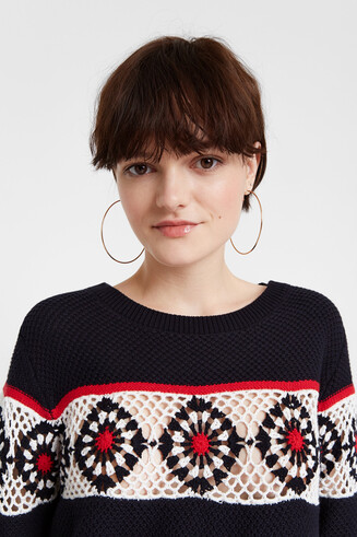 Knit striped and floral jumper