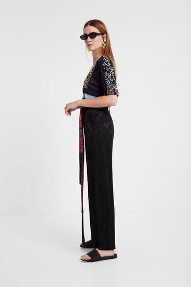 Pantalons jacquard cinturó mocador | Desigual