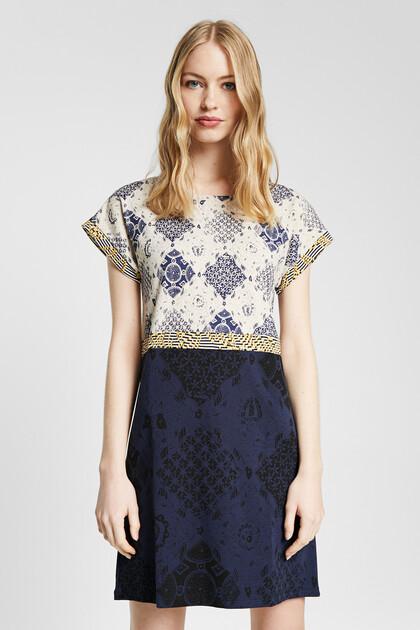 Patch geometric print dress