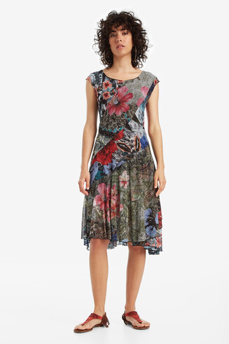 Asymmetric Patch Floral Dress Karuka