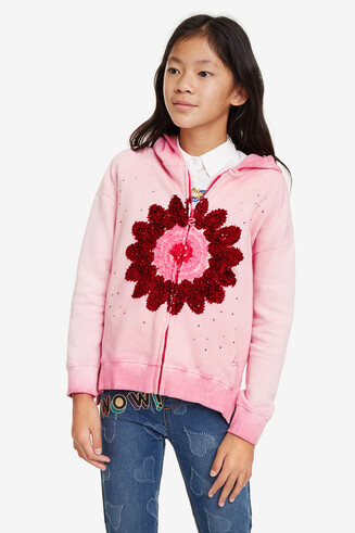 Sweatshirt zipper with hood