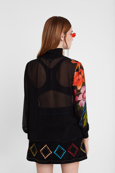 Silk and viscose blouse with elasticated neck and cuffs Designed by M. Christian Lacroix | Desigual