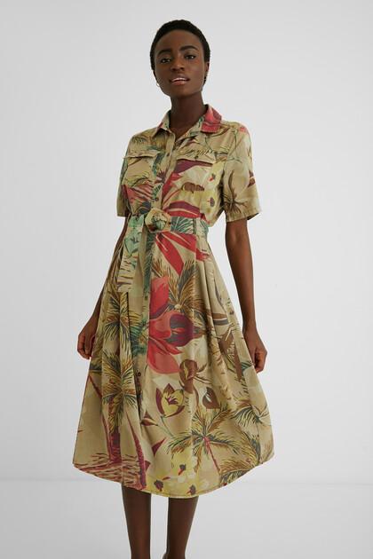 Camoflower shirt dress