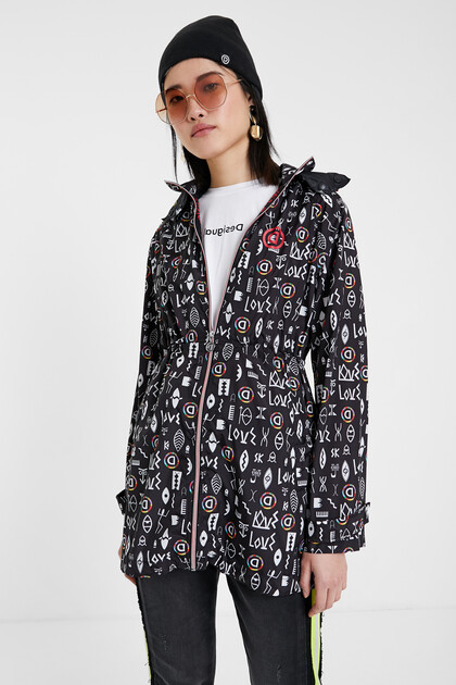 Cave print rain coat