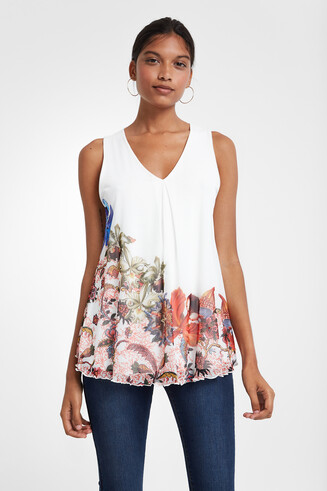 Floral flared T-shirt