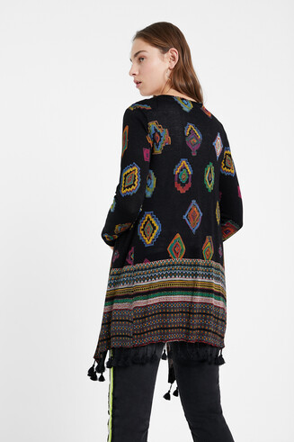 Geometric print knit cardigan