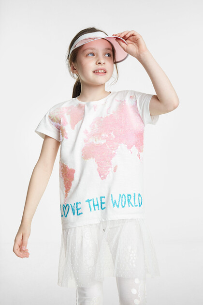 World map T-shirt in reversible sequins and skirt
