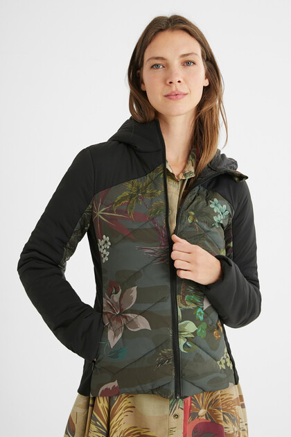 Slim print jacket with hood