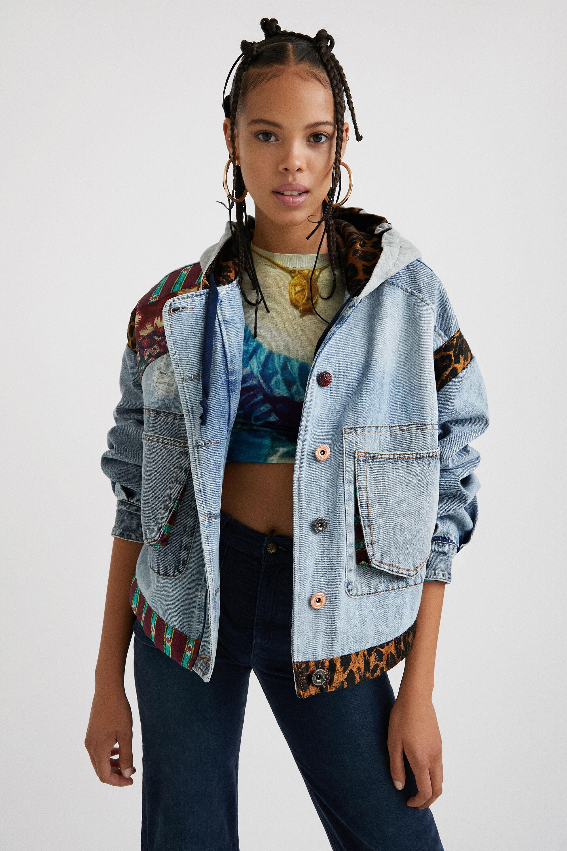 Giacca oversize jeans cappuccio BLUE L