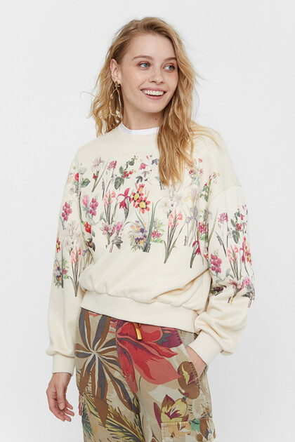 Plush floral sweatshirt