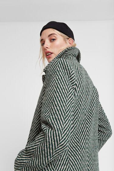 Groene stoffen jas zigzag | Desigual