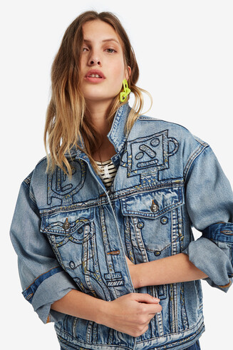 Oversize denim jacket with robots embroidery