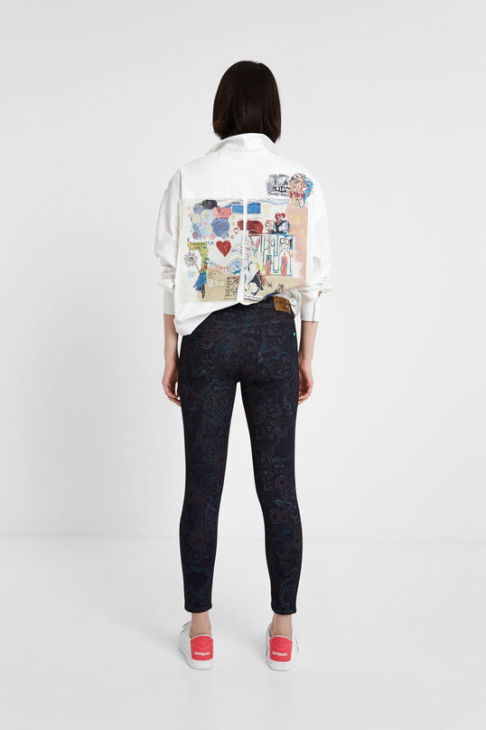 Skinny floral jean trousers | Desigual