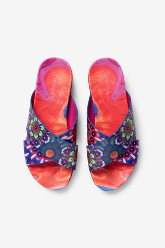 Platform sandals with floral mandalas