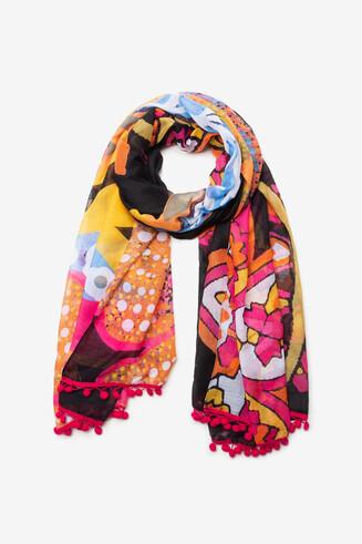 Floral foulard tassels