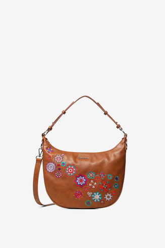 Camel half-moon bag embroidered mandalas