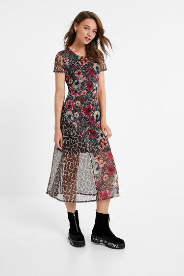 Midi dress floral and animal print   Desigual
