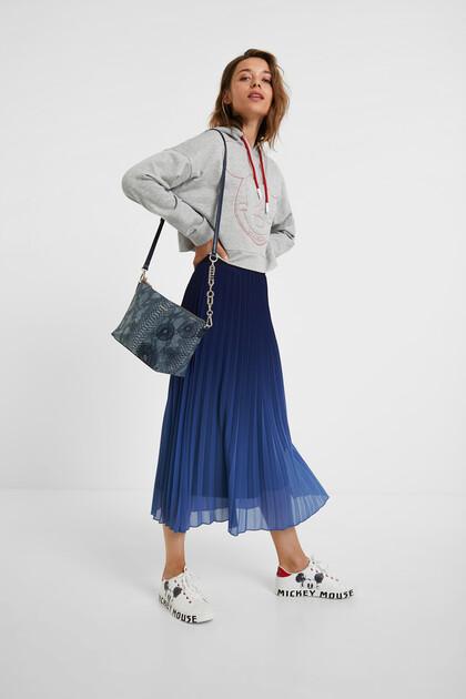 Midi skirt flared pleated