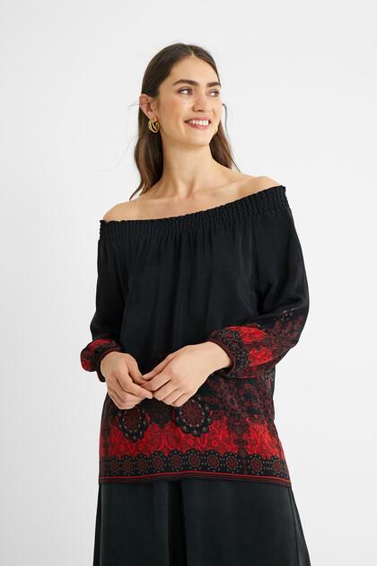 Boho blouse boat neck
