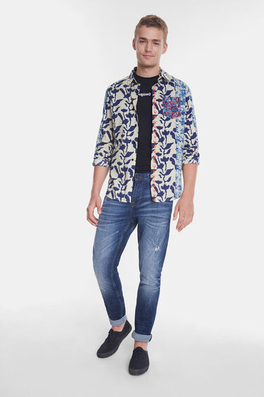Organic shirt with floral lines | Desigual
