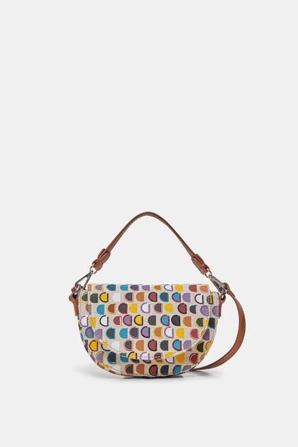 Mała torebka w kształcie półksiężyca z logo