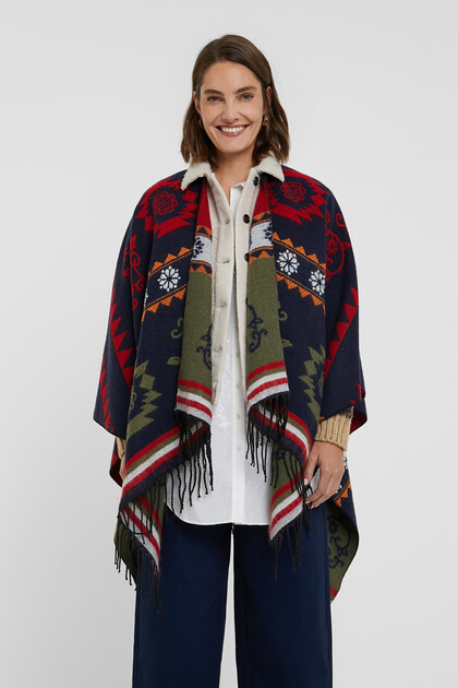 Ethnic friezes square poncho
