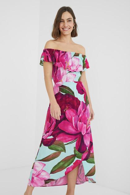 Langes Kleid Carmen-Ausschnitt