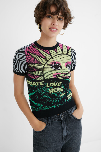 T-shirt malha zebra