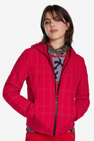 Short padded jacket with hood