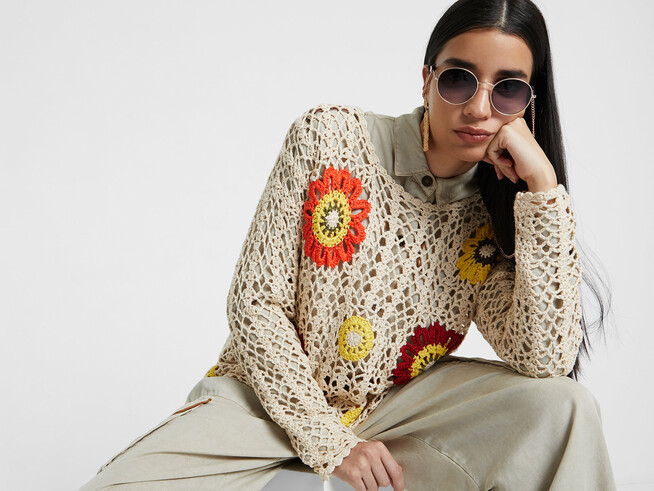 Knit and floral crochet jumper