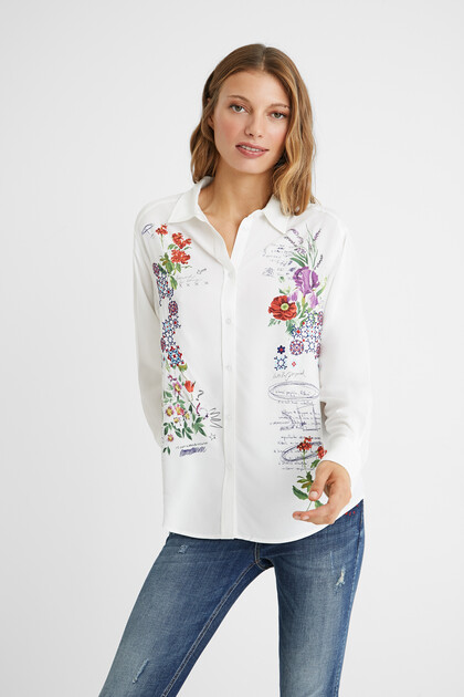Embroidered shirt flowers