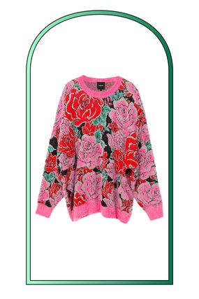 Pull en maille floral oversize