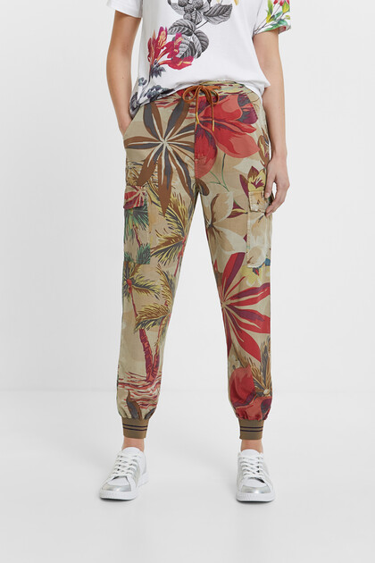 Tropical cargo jogger trousers