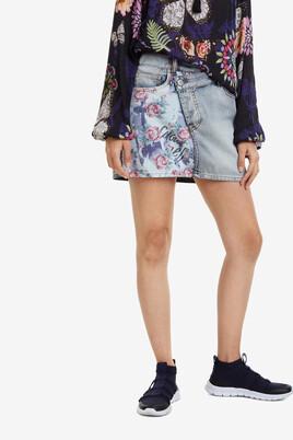 Denim Miniskirt Roses