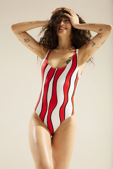 Swimsuit with red waves | Desigual