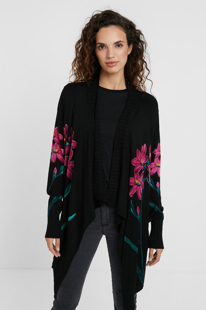 Tricot open jumper asymmetric hem