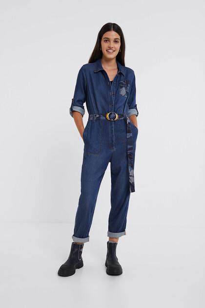 Jeans-Jumpsuit mit Gürtel