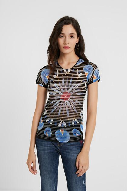 Knit T-shirt floral mandala