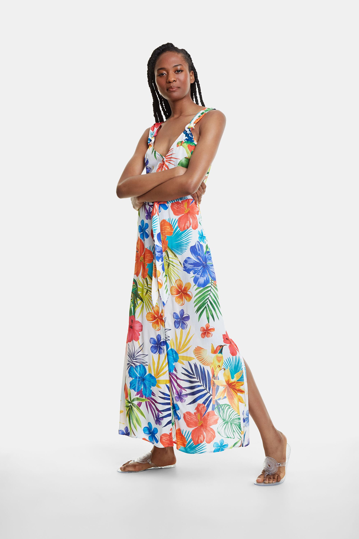 Vestito da spiaggia lungo a fiori | Desigual